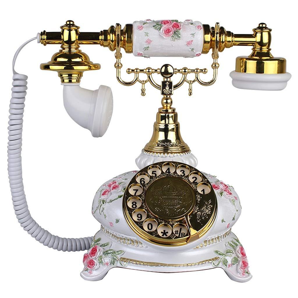 ホーム固定電話レトロアンティークスタイルロータリーボタンダイヤル電話、手作りの工芸品、ヴィンテージクラシック有線電話家やオフィスの装飾、さまざまな色やスタイルから選択できます (三 : Bronze -c) B019MKJPZ4 White-AA