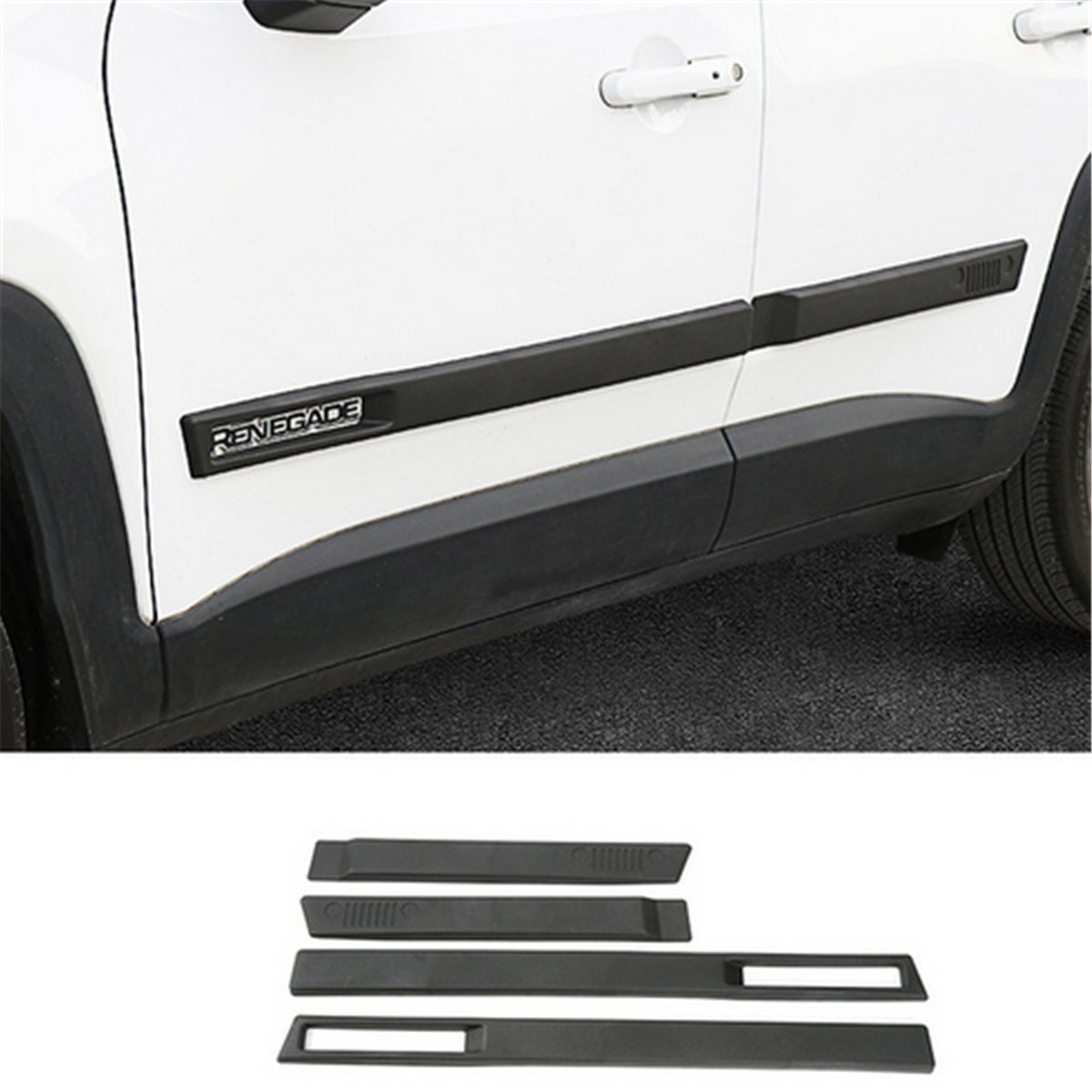 Dwindish 4 Pcs ABS Car Body Side Moulding Door Protector Cover Trim Kit for Jeep Renegade 2015 up by Dwindish (Image #1)