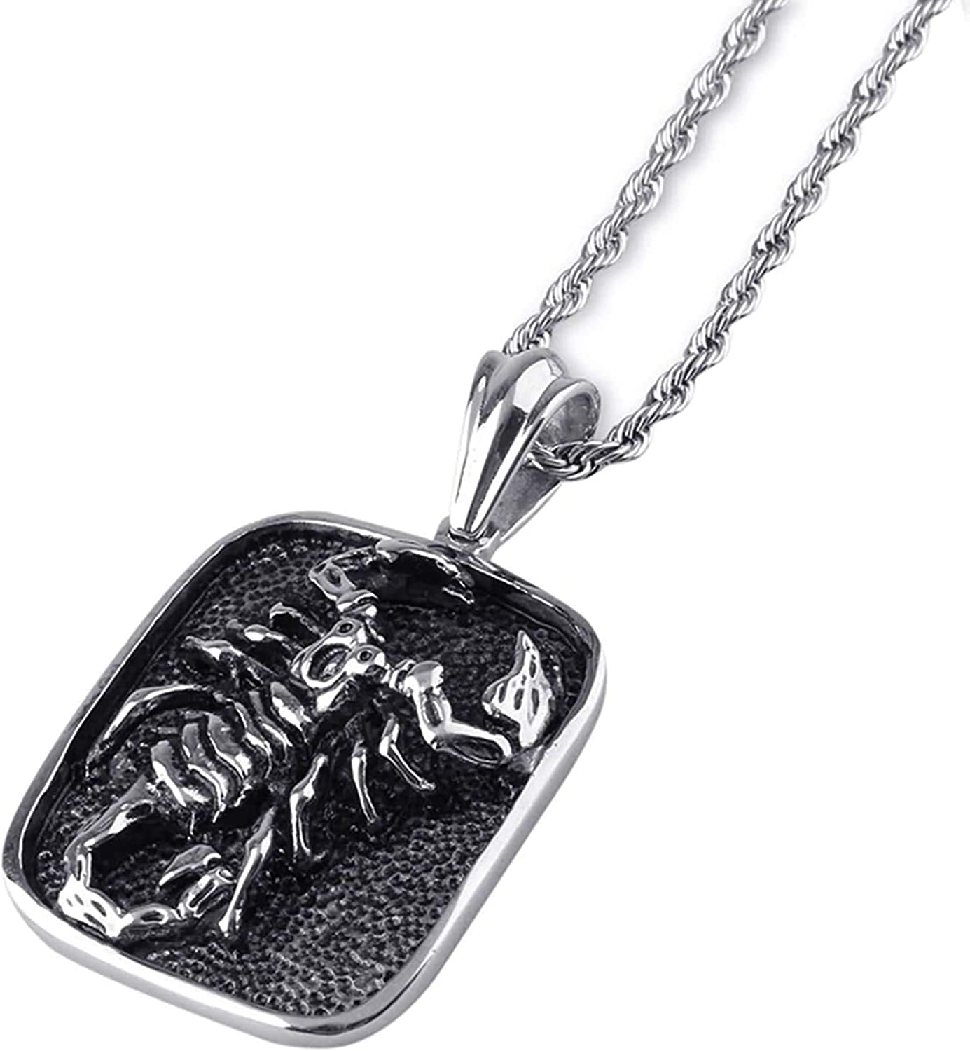 LOPEZ KENT Pendant Necklace for Men Stainless Steel Scorpion Black Necklace Silver