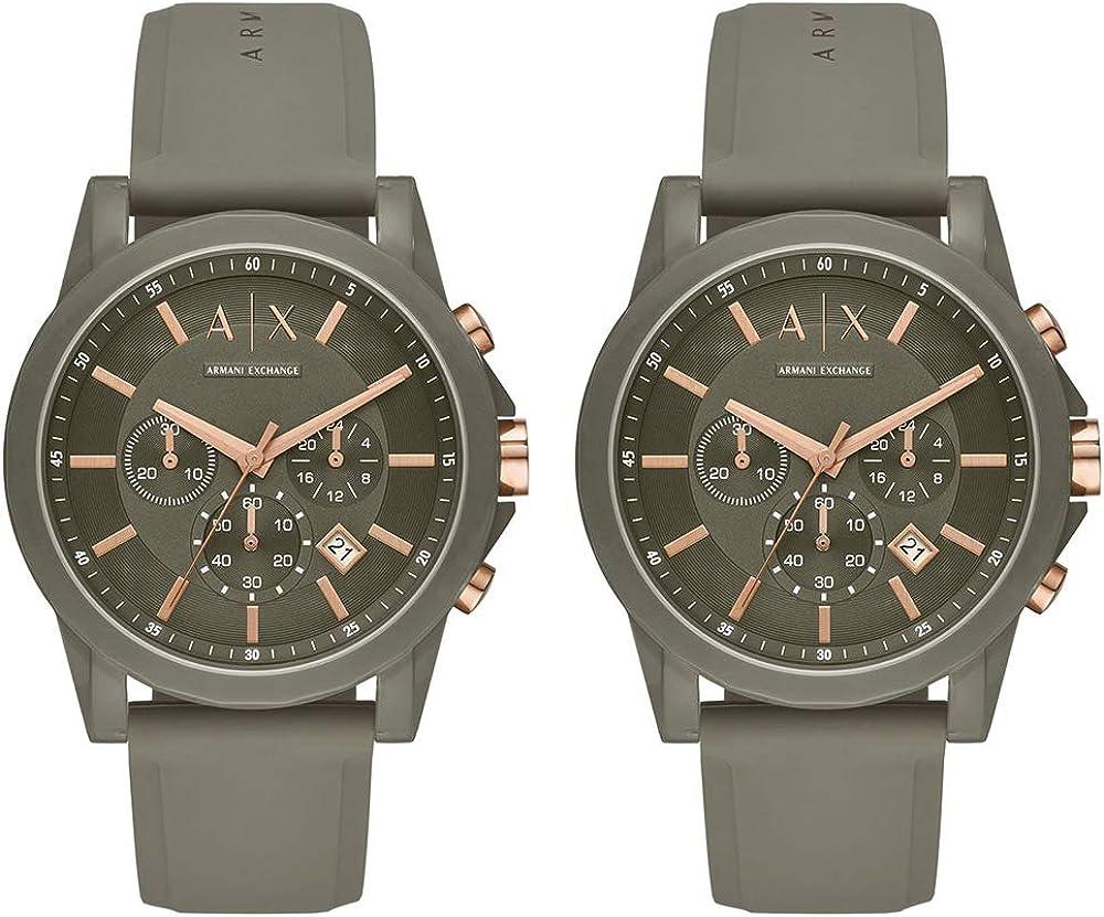 [アルマーニ エクスチェンジ]Armani Exchange 収納BOX付 ペアウォッチ 2本セット シェア OUTER BANKS クロノグラフ ローズゴールド×カーキー シリコンラバー AX1341AX1341 腕時計 [並行輸入品]