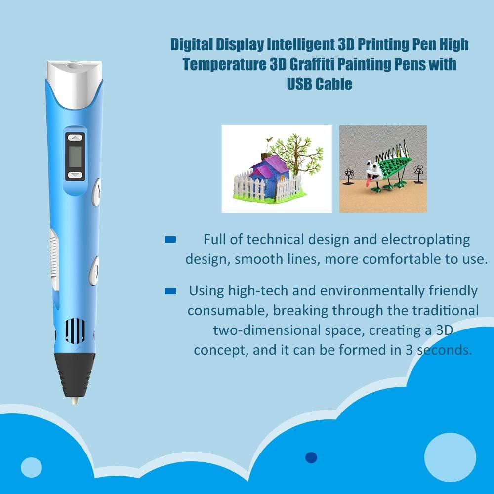 Leepesx Stylos de peinture /à haute temp/érature 3D Graffiti du stylo dimpression intelligent 3D daffichage num/érique avec c/âble USB