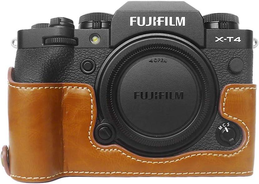 funda protectora para XT4 media funda FUJI XT4 Grip Case MUZIRI KINOKOO Funda de piel sint/ética compatible con c/ámara Fujifilm X-T4