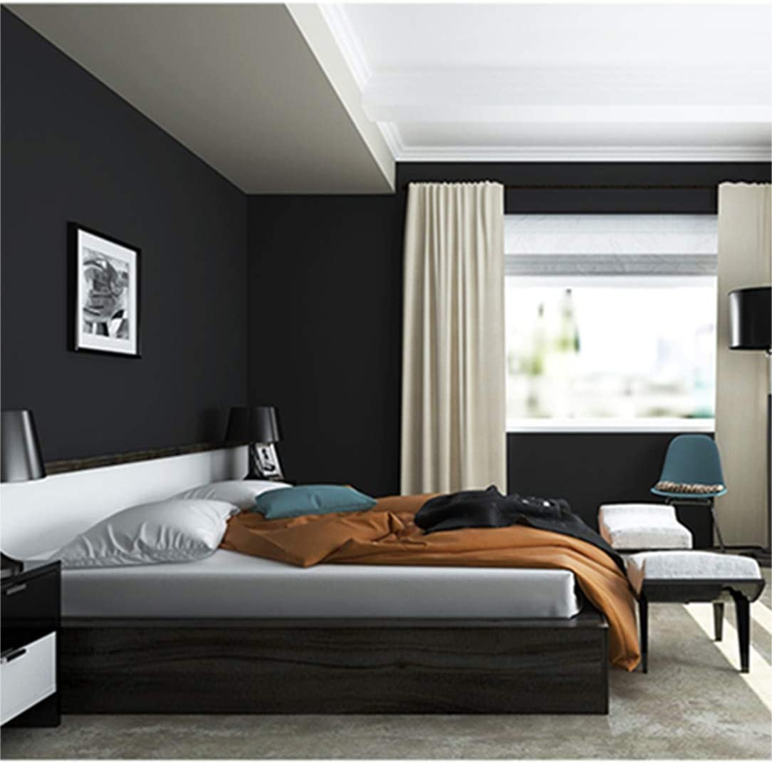 """Peel and Stick Solid Color Black Wallpaper 24"""" by 393"""" (Black)"""