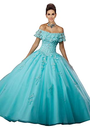 41dd46f47cd Off The Shouder Quinceanera Dress Prom Dress Lace Applique Sequin Beads  Backless Party Dresses Aqua Blue