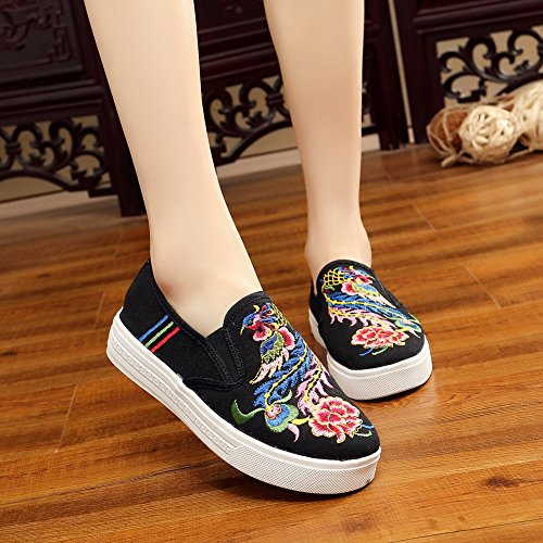 Warbler Sneakers Black AvaCostume Embroidery Women Loafer Shoes Casual Canvas rqrx5Y8w