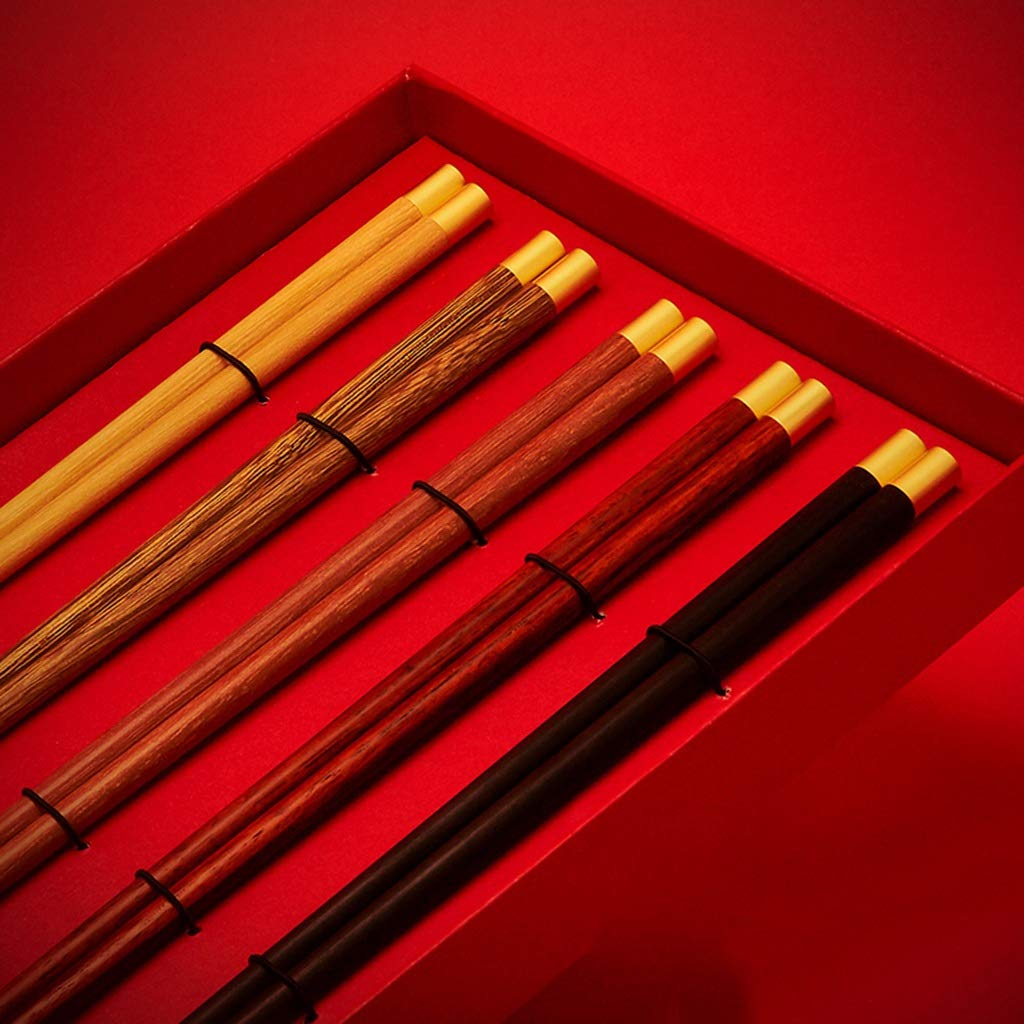 JUSANU Chinese Style High-end Gift Chopsticks Set Chinese Gift Wedding Chopsticks Household Solid Wood Red 5 Pairs of Cutlery Set Gift Chinese Style