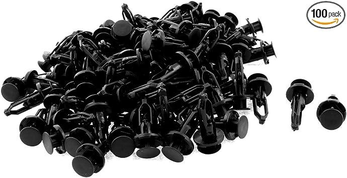 100 Fit 9mm Hole Plastic Rivet Fastener X-Mas Tree Push Clip Auto Bumper Fender