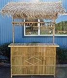 "Bamboo Tiki Bar w/Palm Thatch Roof 24""W x 76""Lx 89""H"