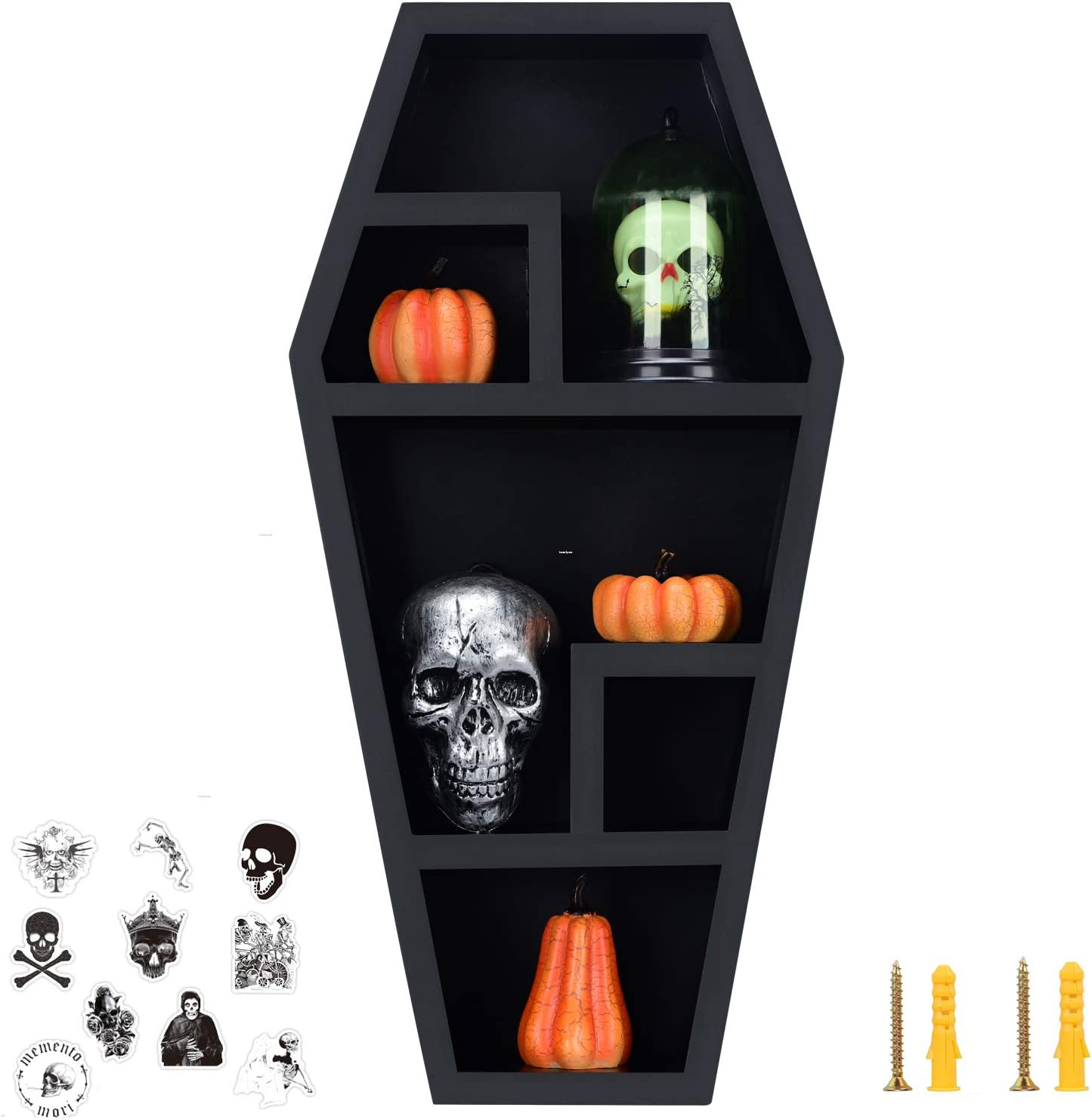 Coffin Shelf - Large - Gothic Home Decor for Display or Storage - Spooky Decor with Hardwares and Gothic Stickers- Wooden Shelf for Tabletop or Wall Hanging- Black - 20X10X4 Inches -by HanSoar