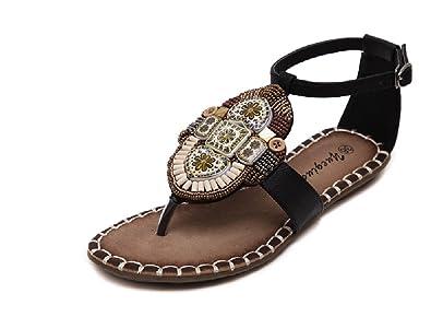 469b35670 Novel Harp Womens Flat T-Strap Sandals Beads Buckle Thong Dress Sandals