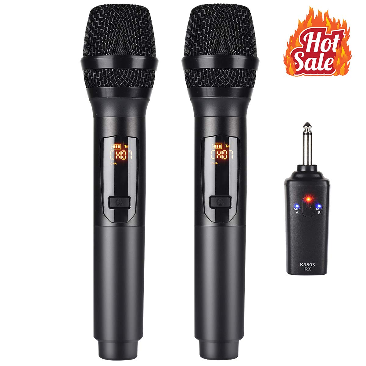 Kithouse K380S Rechargeable Wireless Microphone Karaoke Microphone Wireless Mic Dual with Receiver System Set - Professional UHF Handheld Dynamic Cordless Microphone for Singing Karaoke Speech Church by KITHOUSE