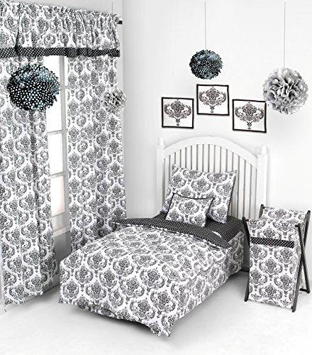 Bacati - Classic Damask Black/white 4 Pc Toddler Bedding Set (Bedding Toddler Classic)