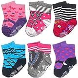 Baby Socks for Toddler Girls with Non Skid, Best Gift for 12-24 Months Infants Girl, 6 Pairs Anti Slip Grip Socks