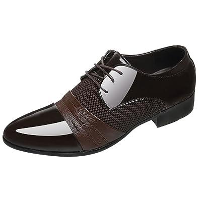 5de61dbe6cb wealsex Chaussures de Ville à Lacets Mesh Respirant Derbies Cuir Vernis  Homme Bout Pointu Chaussures Affaires
