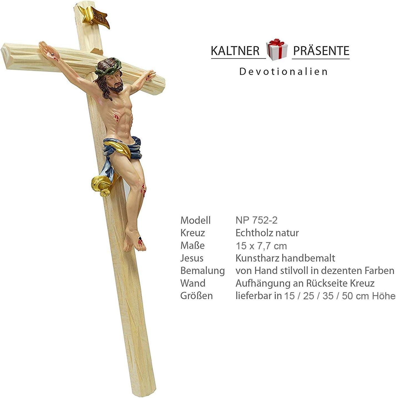 Dipinto a Mano Crocifisso da Parete con Ges/ù Cristo Kaltner Pr/äsente in Legno 15 cm