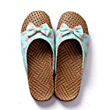 Flipped Linen Slippers Anti-Slip Flax Indoor/Outdoor Shoes Summer Soft Scandals with Thick Outsoles for Men and Women (S, Green)