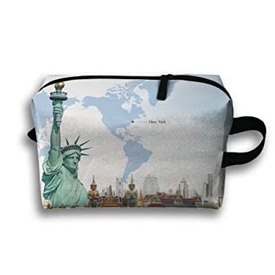 Statue Of Liberty Images Travel Bag Cosmetic Bags Brush Pouch Portable Makeup Bag Zipper Wallet Hangbag Pen Organizer Carry Case Wristlet Holder