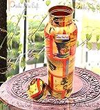 Prisha India Craft Digital Printed Pure Copper Water Bottle, Travelling Purpose, Yoga Ayurveda Healing, 1000 ML