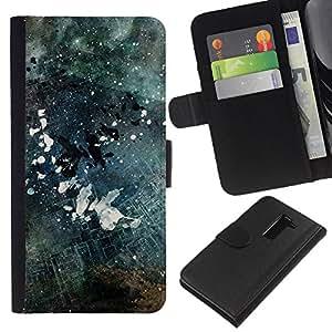 Protector de cuero de la PU de la cubierta del estilo de la carpeta del tirón BY RAYDREAMMM - LG G2 D800 - Negro y blanco Grunge