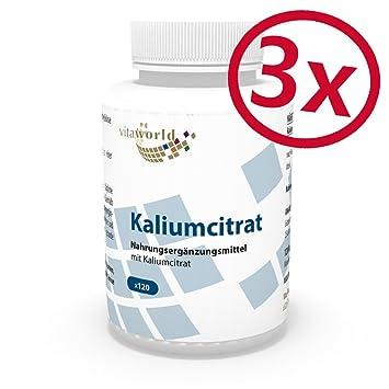 Pack de 3 Citrato de Potasio 825mg dosis diaria 3 x 120 Cápsulas Vegetales - Vita World Farmacia Alemania: Amazon.es: Salud y cuidado personal