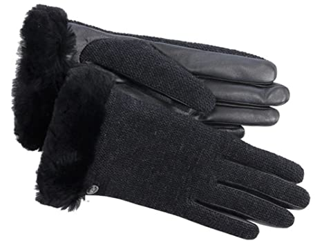 UGG Women's Shorty Smart Fabric Gloves w/ Short Pile Trim Black Multi LG