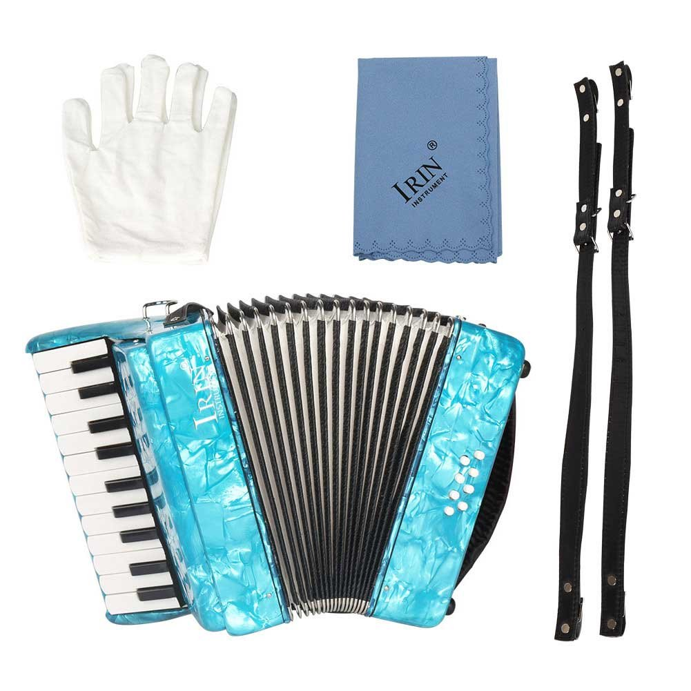 IRIN 22-Key 8 Bass Piano Accordion Educational Musical Instrument Rhythm Toy Acordions Instruments Children Sccordion Instrument for Beginners Students Red Blue Green(Blue) by Vbestlife