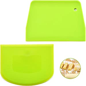 JKJF Dough and Bowl Scrapers, Set of 4 Multi-Purpose Plastics Scraper with Straight and Curved Edges for Food Processor Bowl and Kitchen Bowl Scraping Baking, Bread Dough, Cake Fondant, Icing (Green)