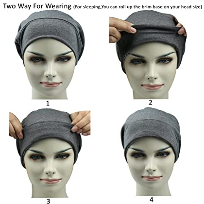... Satin Lined Sleep Cap Casual Slouchy Bonnet Headwear Curly Hair Beanie  Hats ... 01d2d812b2ae