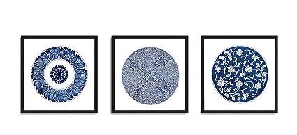 Amazoncom White And Dark Blue Prints Set Of 3 Framed Canvas Art