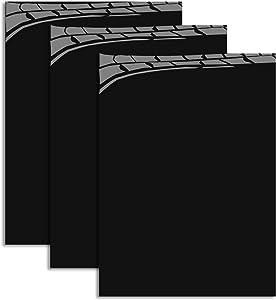 "MiPremium PU Heat Transfer Vinyl HTV, Black Iron On Vinyl 12"" x 10"" (3 x Sheets), for T Shirts Sports Clothing & Other Garments and Fabrics, Easy to Cut Apply & Press Black Vinyl (3 x Black)"