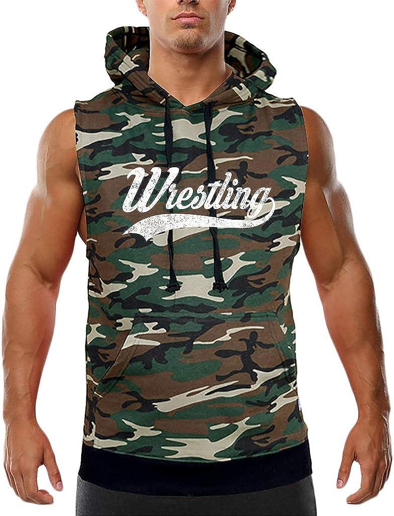 Koyotee Mens Script Wrestling Camo Sleeveless Vest Hoodie Black