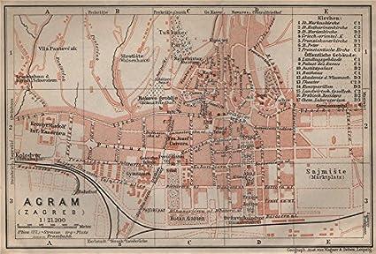 Zagreb Agram Antique Town City Plan Grada Croatia Karta Baedeker 1905 Map Amazon Co Uk Kitchen Home