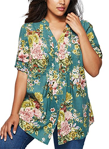 Floral Button Front Shirt - 3