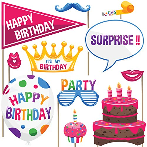 Birthday Photo Booth Props (Set of 22) - Birthday Party Games (Grown Up Party Themes)