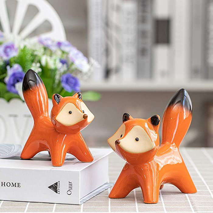 Gishima 2pcs Ceramic Fox Figurines Home Decor Animal Statues Collectible Figurines Home,Study,Office Decoration