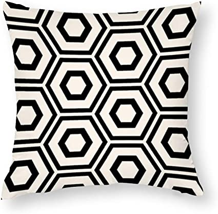 Yy One Decorative Cotton Pillow Covers Hexagon Pattern Ivory On Black Throw Pillow Case Cushion Cover Home Decor Square 22 X 22 Inches Amazon Co Uk Kitchen Home