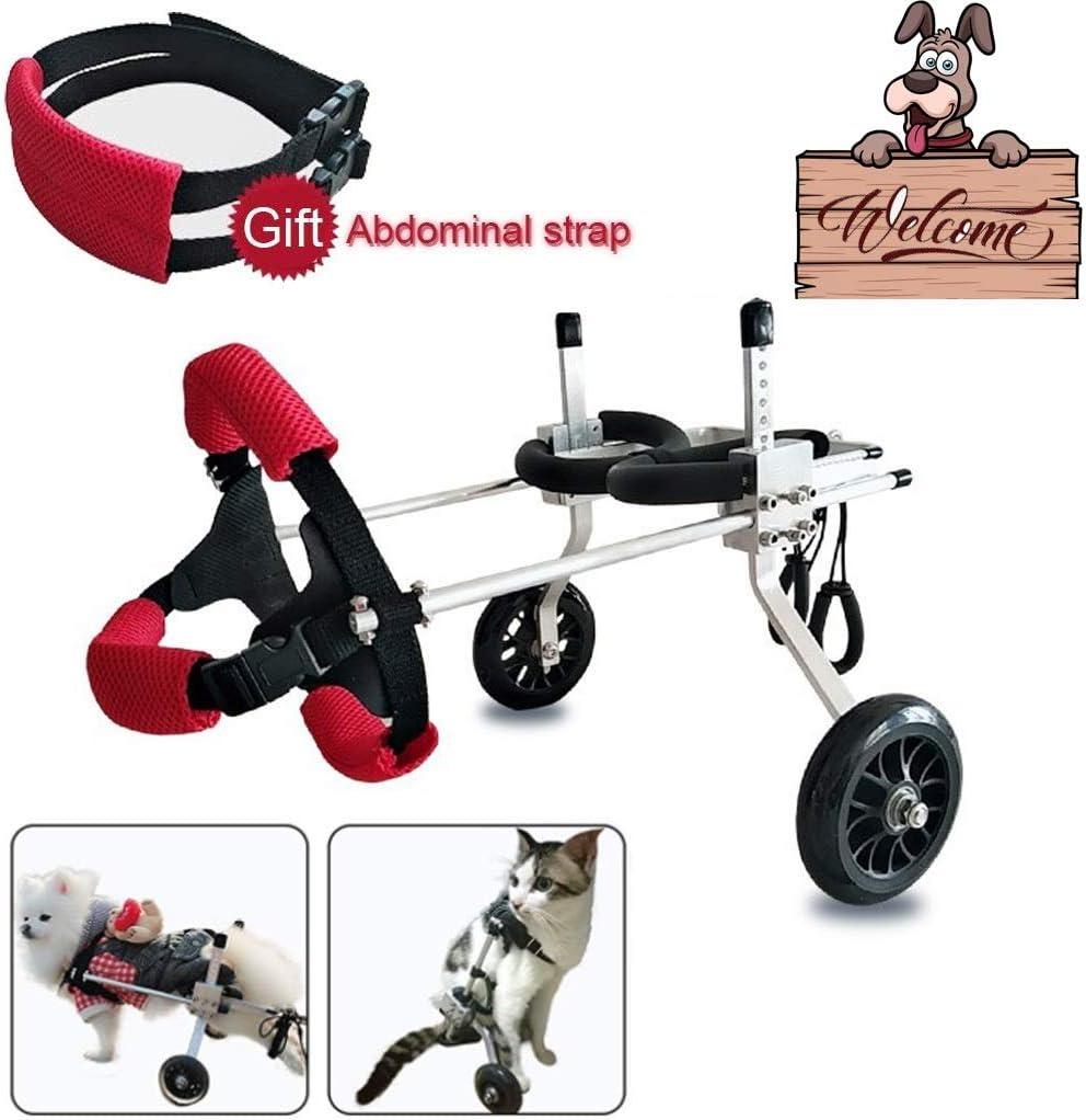 Dog wheelchair Silla de ruedas para perros Arnés de movilidad para perros, Silla de ruedas con soporte trasero, Carrito de acero inoxidable ajustable Mascota / Gato Rehabilitación de patas traseras pa