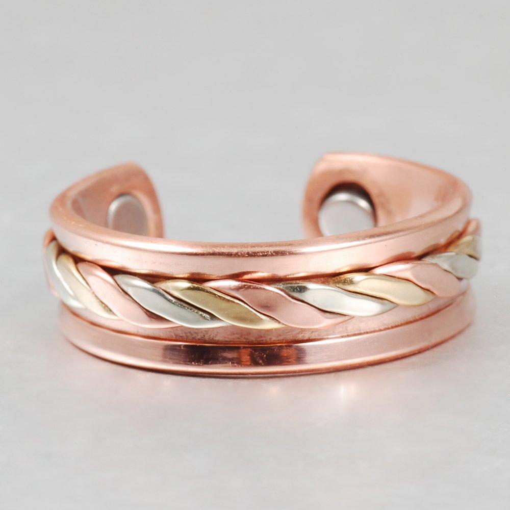3-farbiger magnetischer Kupferring f/ür Arthritis f/ür Herren Wollet Jewelry
