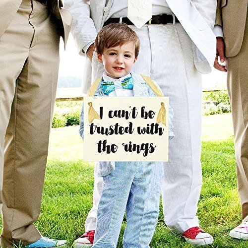 I Cant Be Trusted With The Rings Funny Wedding Sign For Young Ring Bearer