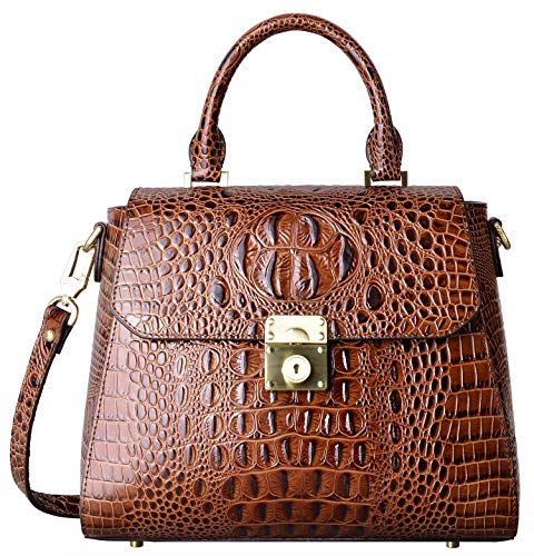 PIFUREN Crocodile Bags Designer Leather Satchel Handbags Top Handle Shoulder Purse (brown)