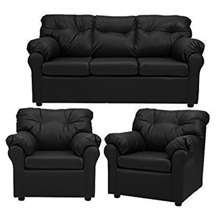 FabHomeDecor Elzada Five Seater Sofa Set 311 Black Amazonin