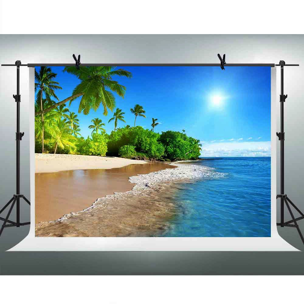 FHZON 10x7ft Summer Sunshine Backdrop Beach Coast Tropical Paradise Blue Sea Sky Coconut Tree Photography Background Themed Party YouTube Backdrop Photo Booth Studio Props FH1200 by FHZON (Image #1)