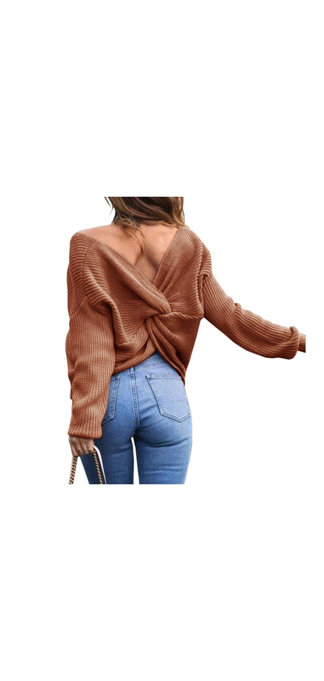 Women's Casual V Neck Criss Cross Backless Long Sleeve