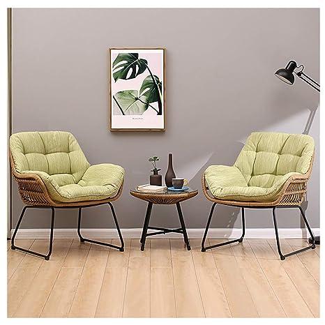 Jun Sofá Lazy Cozy Verde Claro Silla de ratán cómoda ...