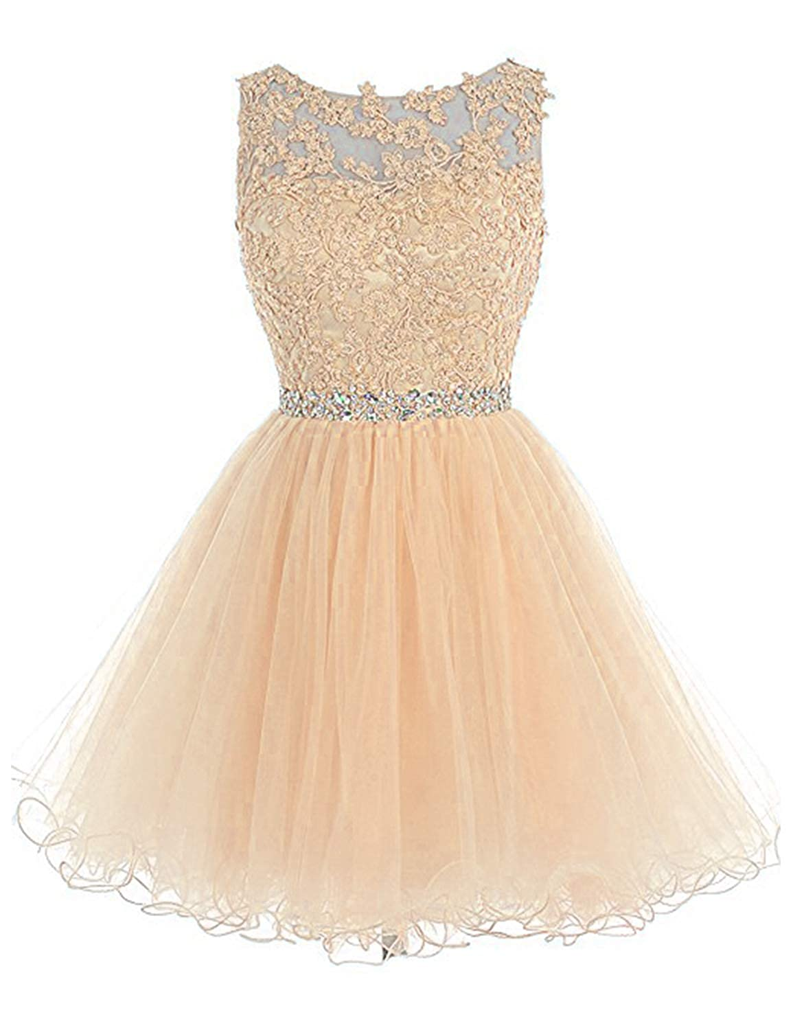 0 Light Champagne Vimans Women's Short Tulle Homecoming Dresses 2018 Knee Length Lace Prom Gowns Dress448