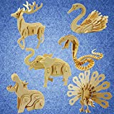 Animal 3D Wooden Puzzle, Squirrel Elephant Deer Butterfly Lion DIY Models Set Puzzle Gift Brain Teaser Toy for Kids Adult
