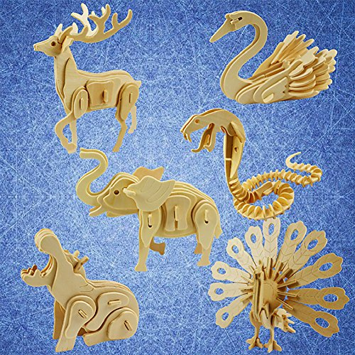 Animal 3D Wooden Puzzle, Squirrel Elephant Deer Butterfly Lion DIY Models Set Puzzle Gift Brain Teaser Toy for Kids Adult ()