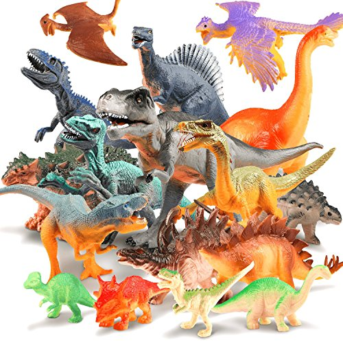 JamBer Dinosaur Toys Realistic Dinosaur Action Figures Jungle Animal Figures Toys for Kids Educational Dino Toys for Toddlers Boys as Party Favors Including T Rex Velociraptor Triceratops,17Pack -