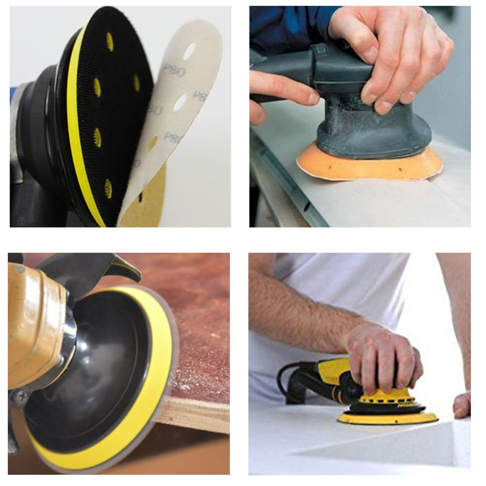 100 Pack Sanding Discs, SZUAH 5 Inch 8 Hole Sanding Disks, Hook and Loop Design Sandpaper Sander Paper Assorted 60/80/120/150/240 Grits (20pcs of Each Grit) for Random Orbit Sanders