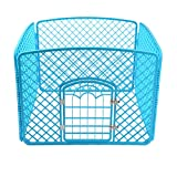 Blue Small Pet Play Yard 4 Panel, Resin Dog Cat Exercise Fence with Door